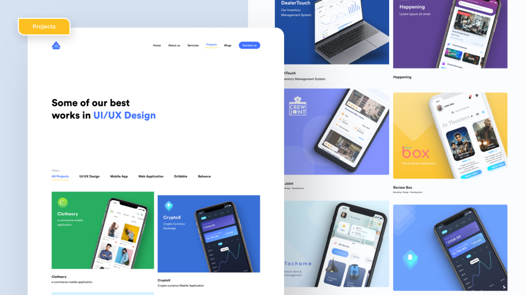 Types of web pages , Portfolio Page